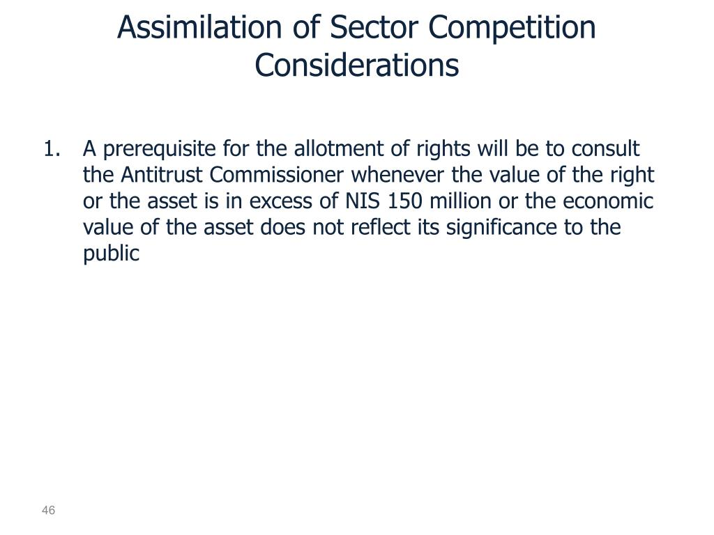Assimilation of Sector Competition Considerations