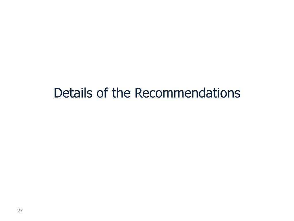Details of the Recommendations