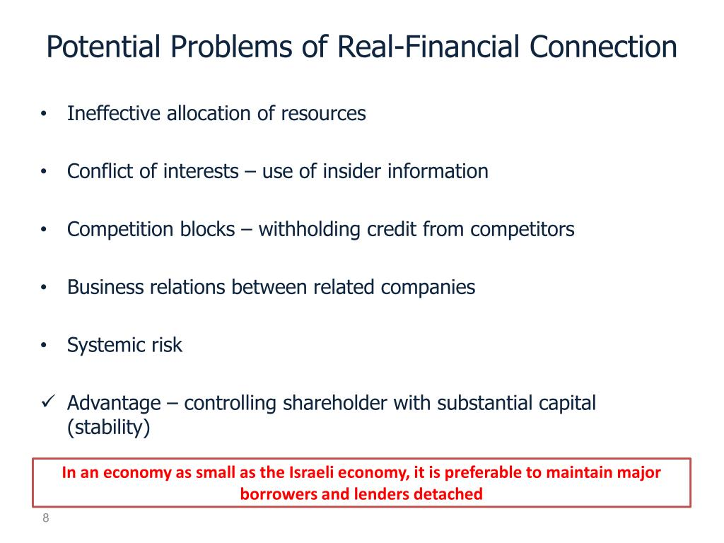 Potential Problems of Real-Financial Connection