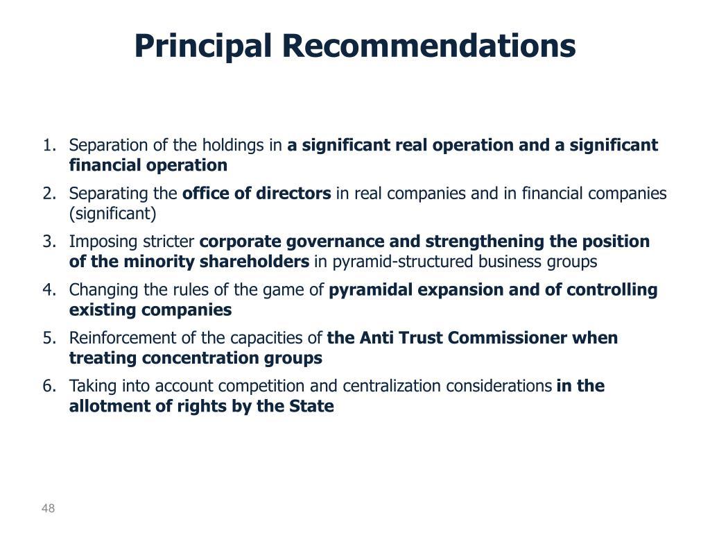 Principal Recommendations