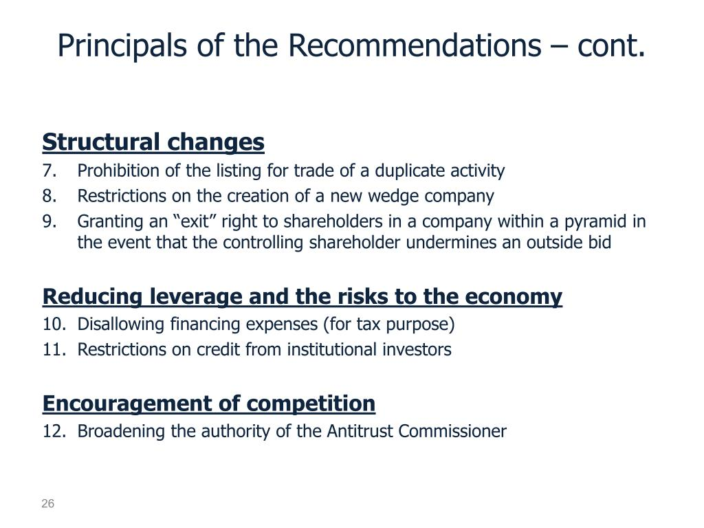 Principals of the Recommendations – cont.