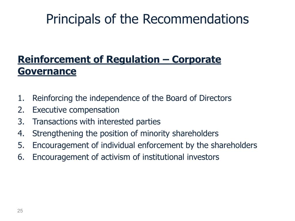 Principals of the Recommendations