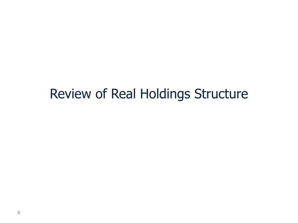 Review of Real Holdings Structure