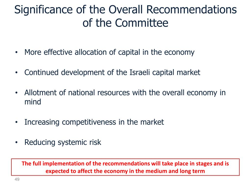 Significance of the Overall Recommendations