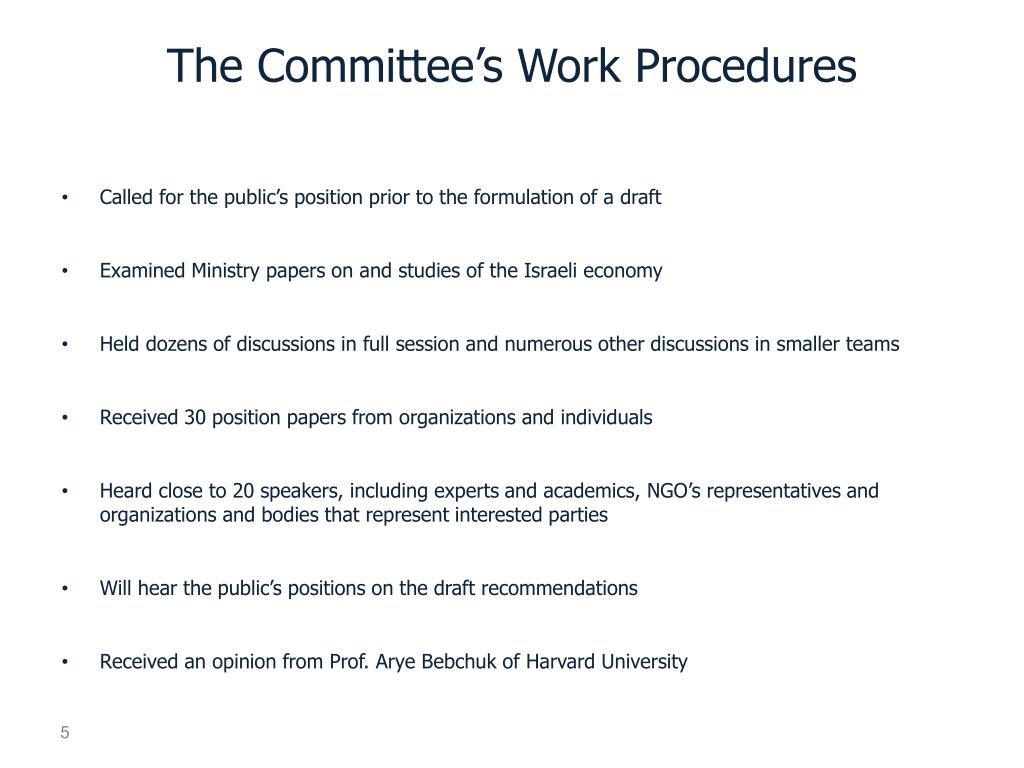 The Committee's Work Procedures