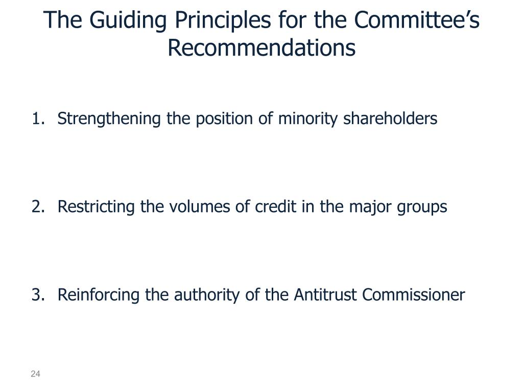 The Guiding Principles for the Committee's Recommendations