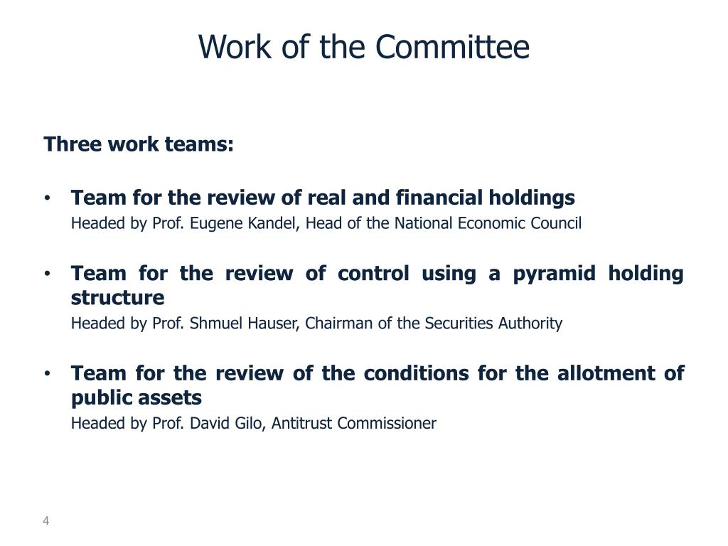 Work of the Committee