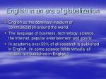 english in an era of globalization
