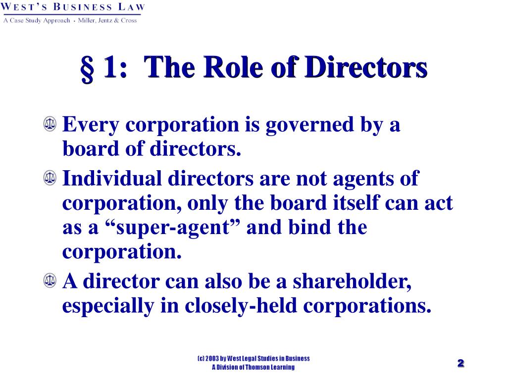 § 1:  The Role of Directors