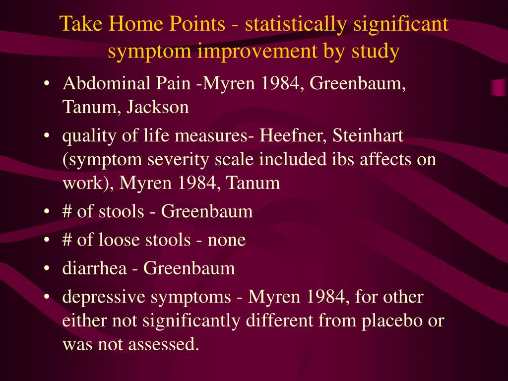 Take Home Points - statistically significant symptom improvement by study