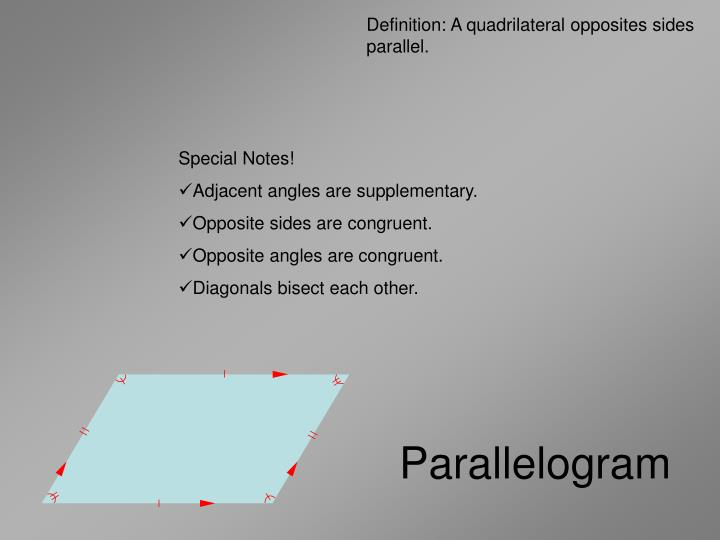 Definition: A quadrilateral opposites sides parallel.