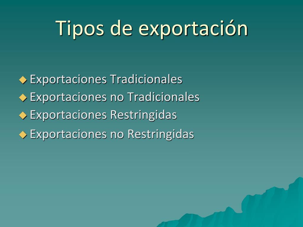 Tipos de exportación