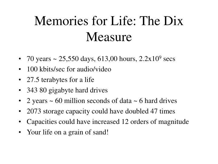 Memories for Life: The Dix Measure