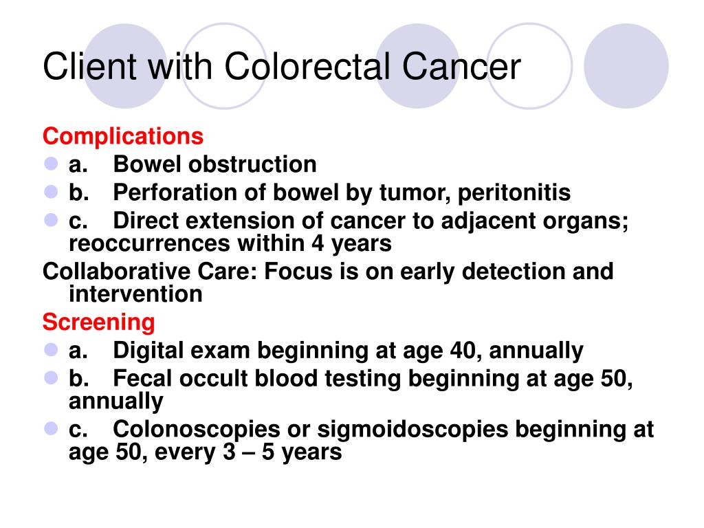 Client with Colorectal Cancer