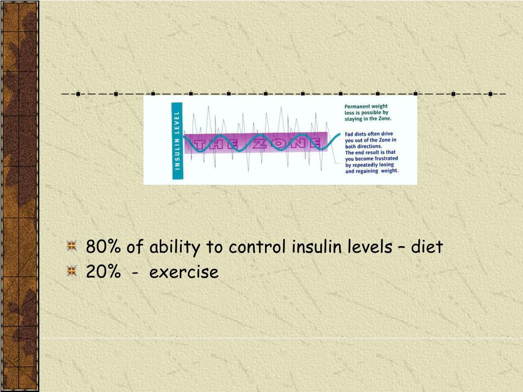 80% of ability to control insulin levels – diet