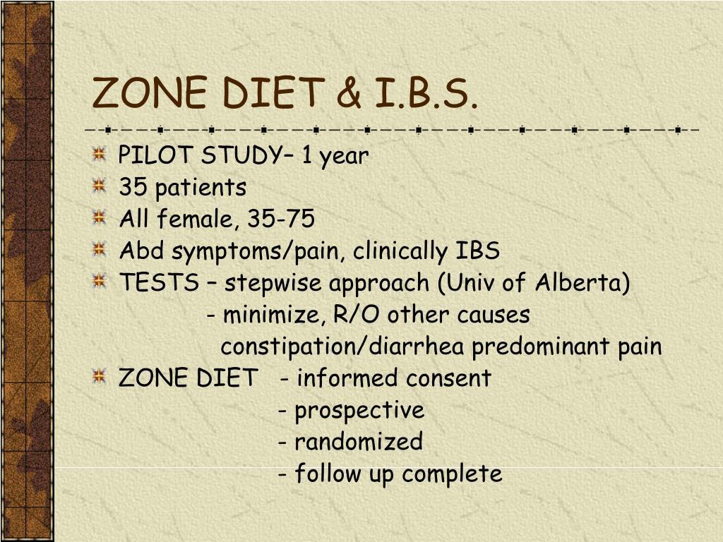 ZONE DIET & I.B.S.