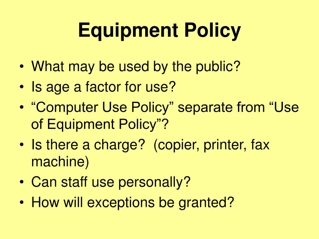 Equipment Policy