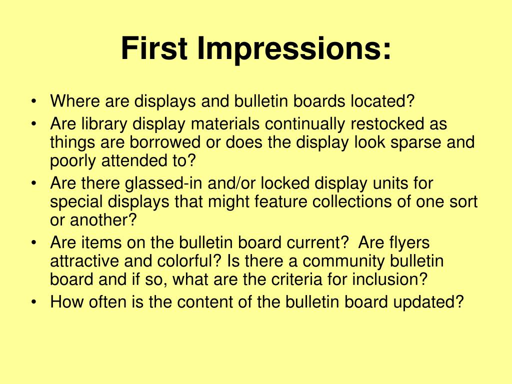 First Impressions: