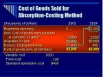 cost of goods sold for absorption costing method