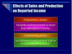 effects of sales and production on reported income