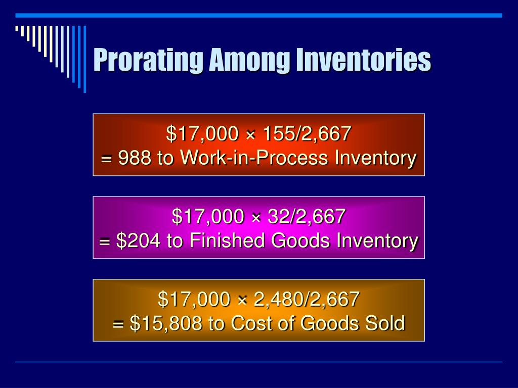 Prorating Among Inventories