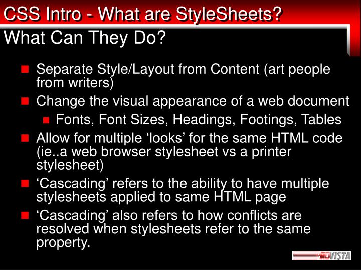 Css intro what are stylesheets what can they do