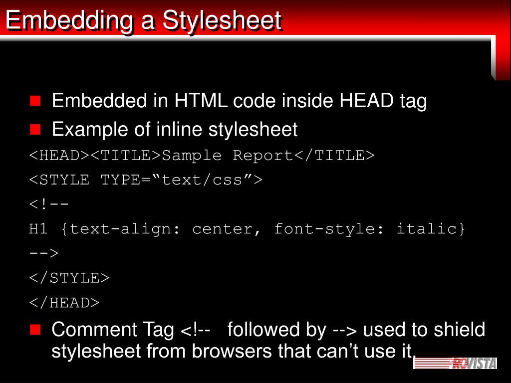 Embedding a Stylesheet
