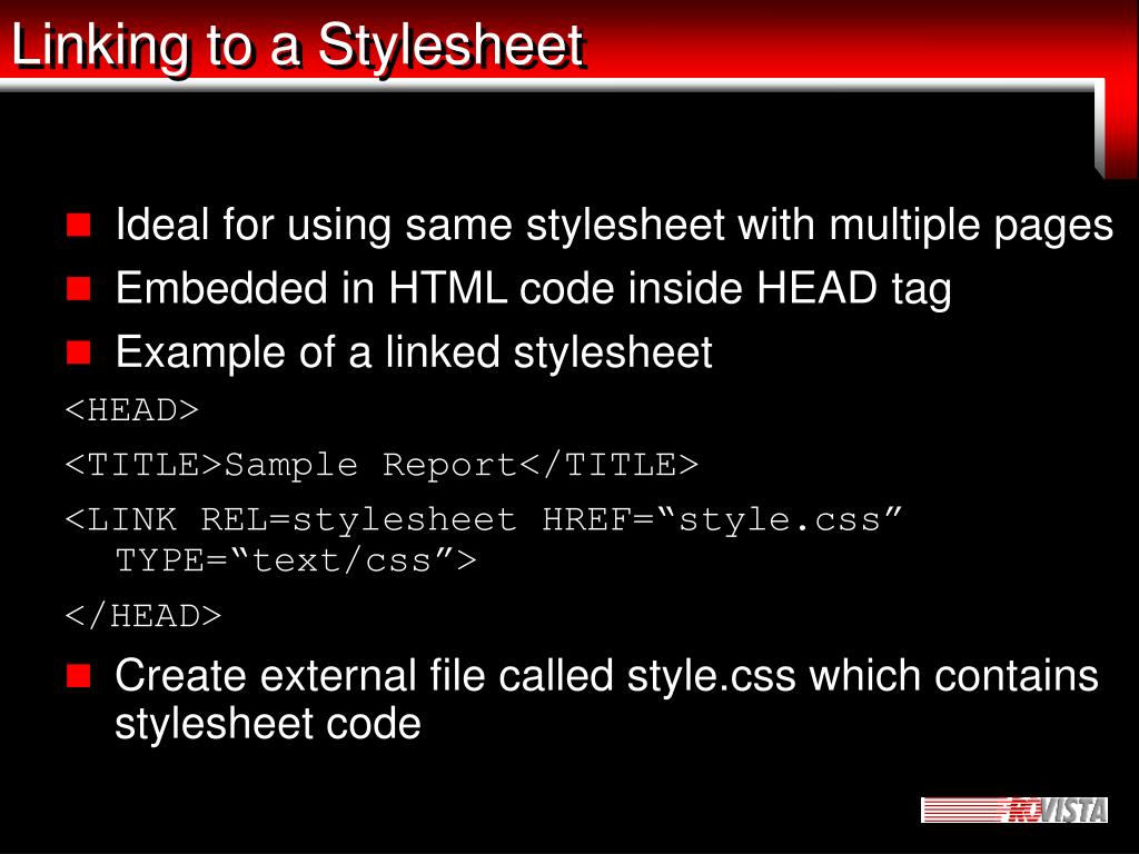 Linking to a Stylesheet