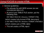 using focus to create html