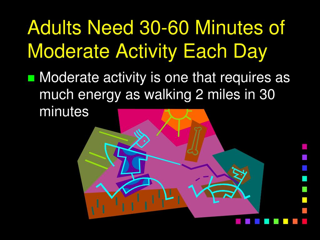 Adults Need 30-60 Minutes of Moderate Activity Each Day