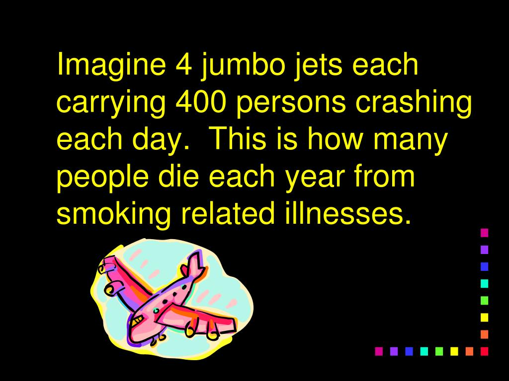 Imagine 4 jumbo jets each carrying 400 persons crashing each day.  This is how many people die each year from smoking related illnesses.