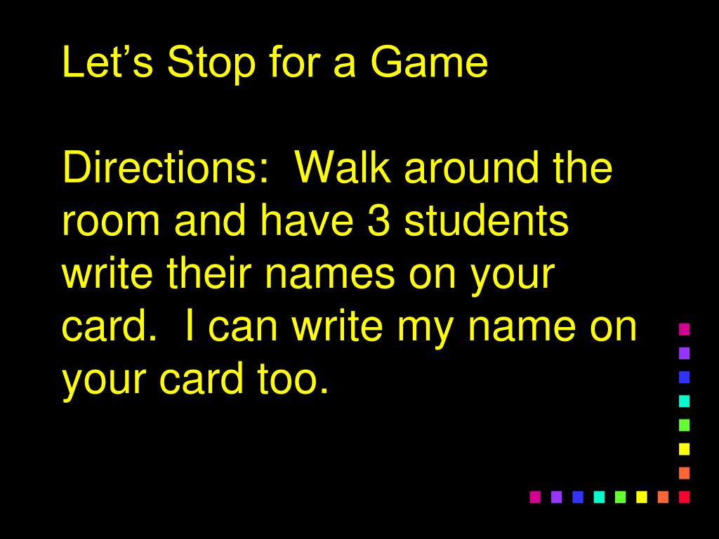 Let's Stop for a Game