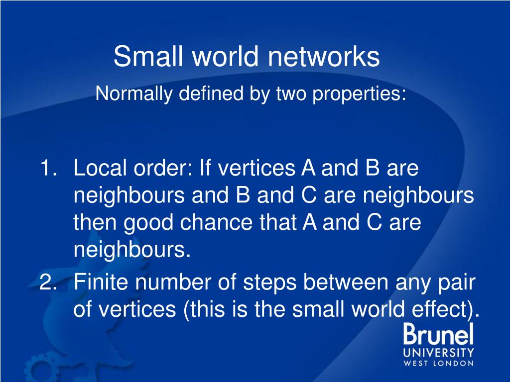 Small world networks