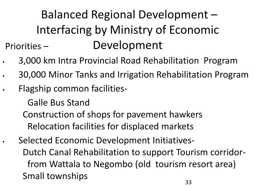 Balanced Regional Development –