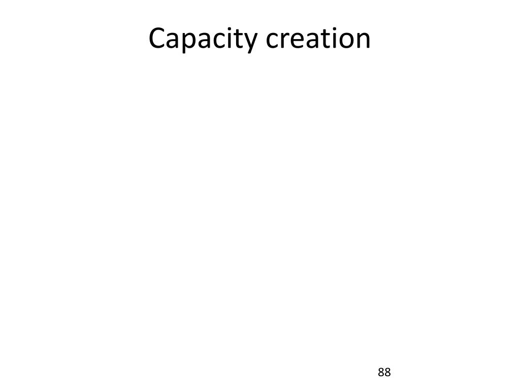 Capacity creation