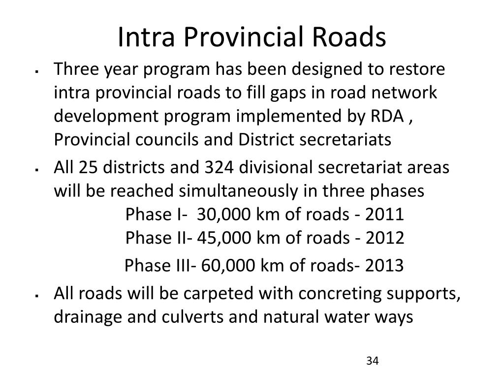 Intra Provincial Roads