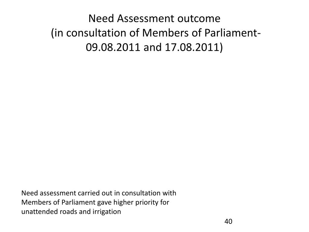 Need Assessment outcome