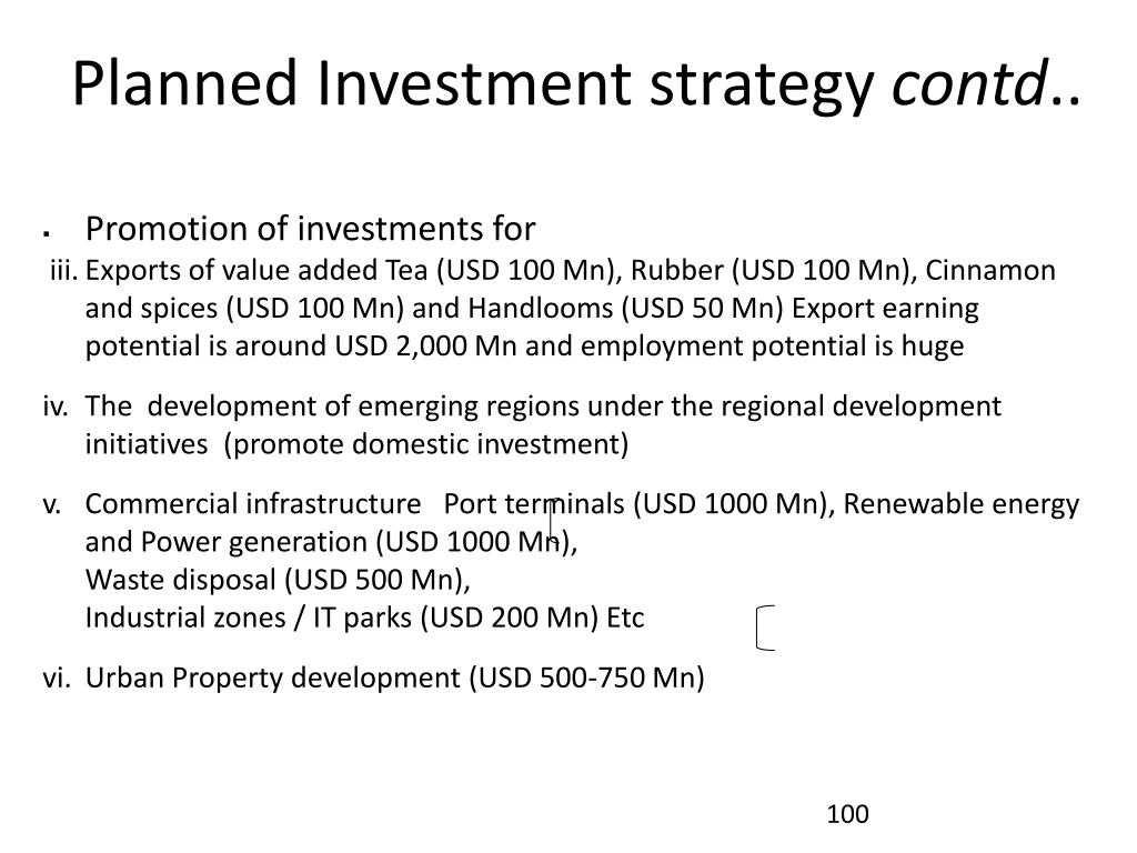 Planned Investment strategy