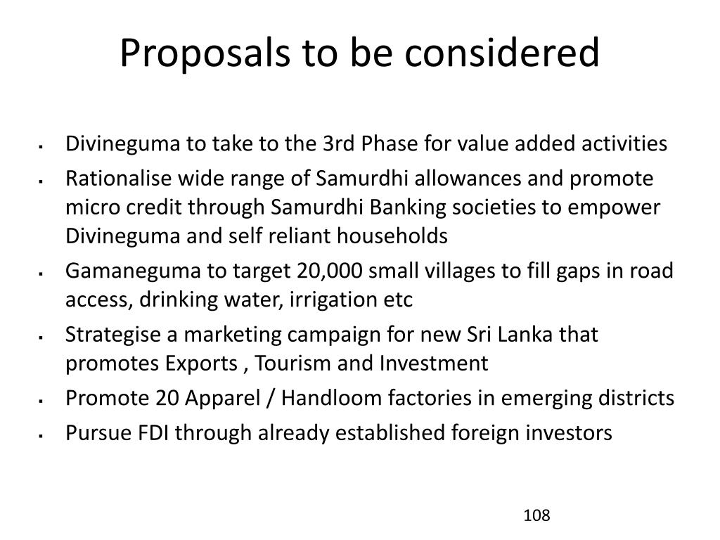 Proposals to be considered