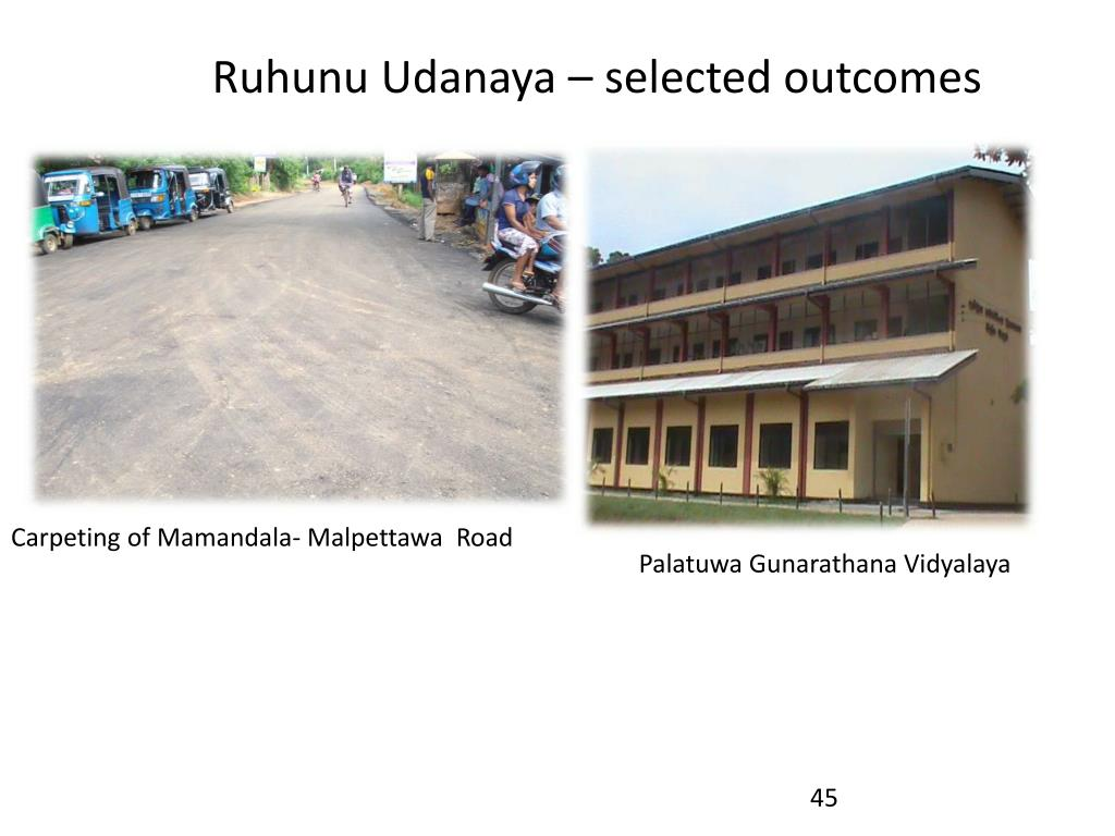 Ruhunu Udanaya – selected outcomes