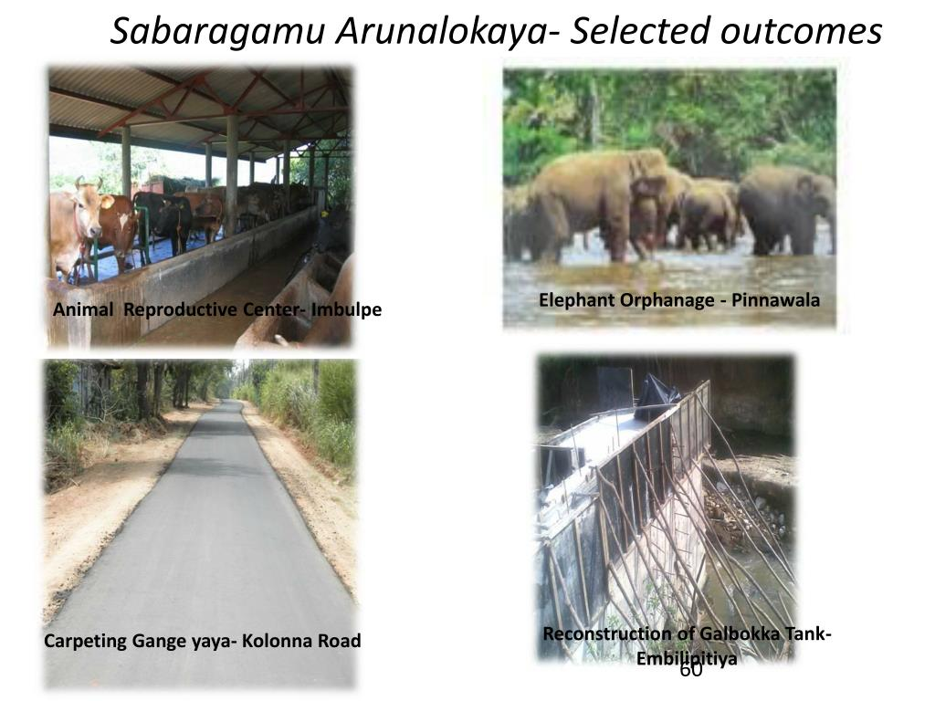Sabaragamu Arunalokaya- Selected outcomes