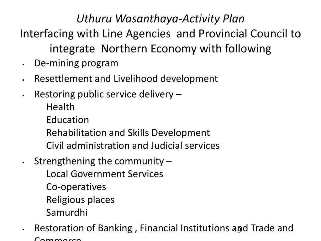 Uthuru Wasanthaya-Activity Plan