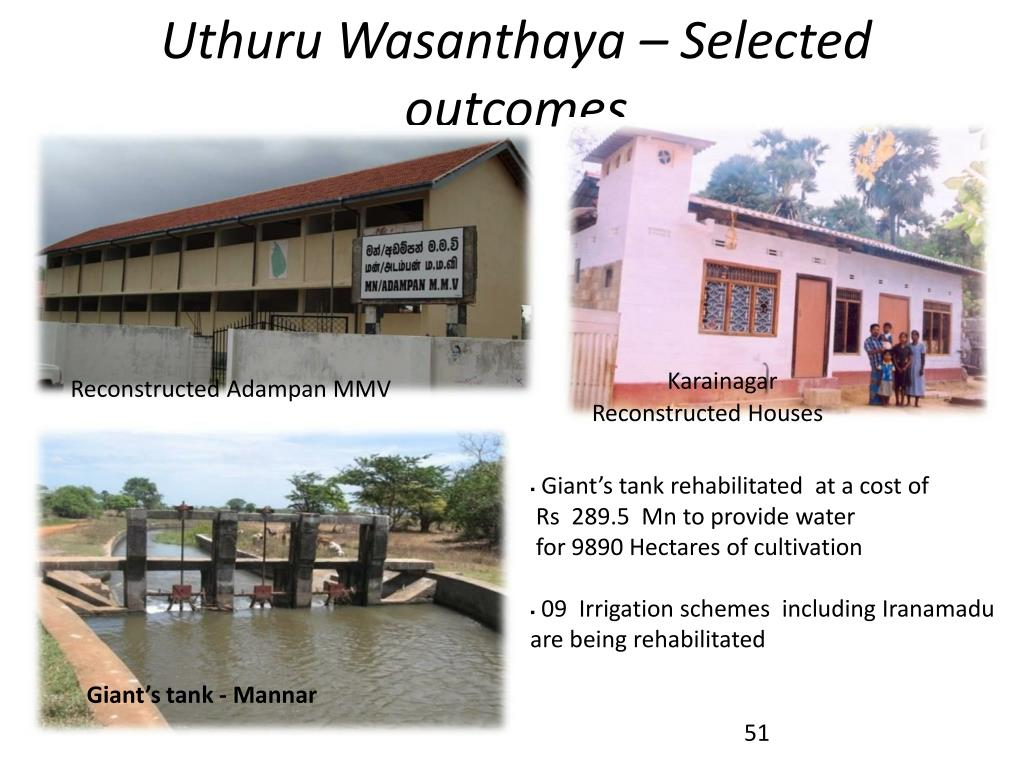 Uthuru Wasanthaya – Selected outcomes