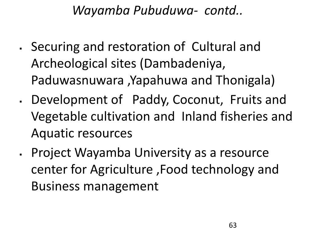 Wayamba Pubuduwa-  contd..