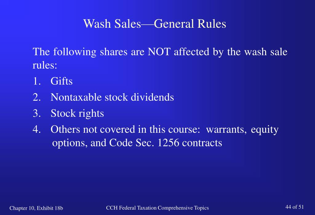Wash sale rules for stock options
