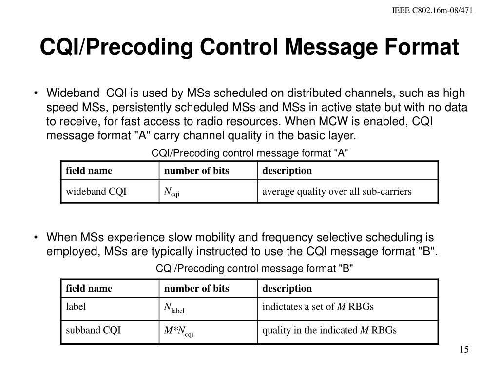 CQI/Precoding Control Message Format