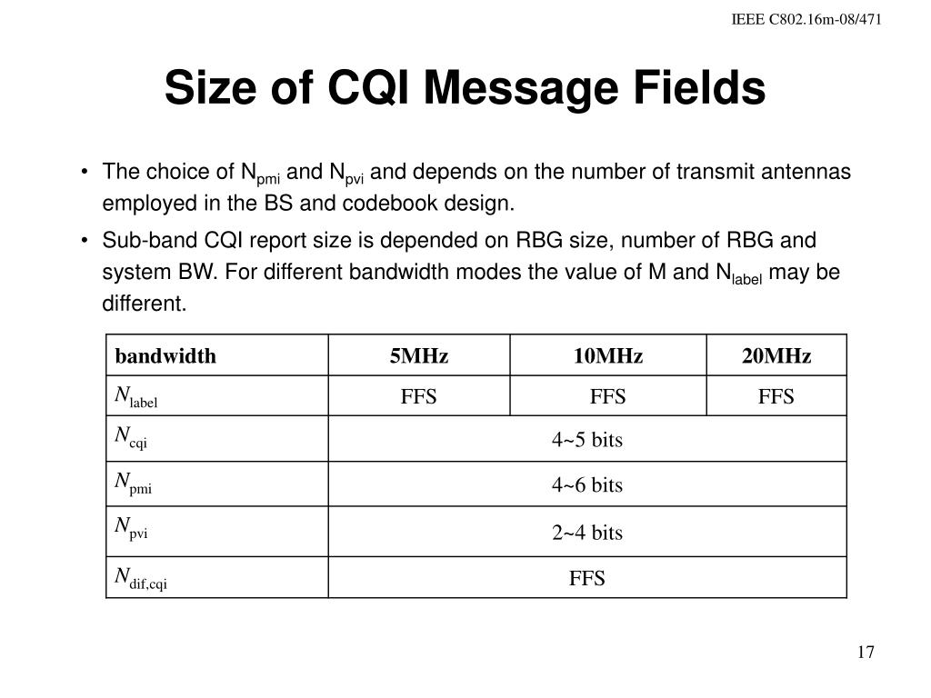 Size of CQI Message Fields