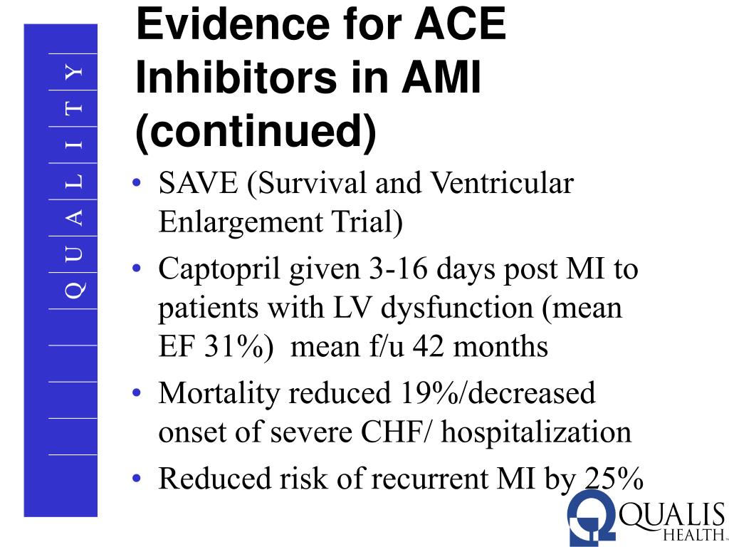 Evidence for ACE Inhibitors in AMI (continued)