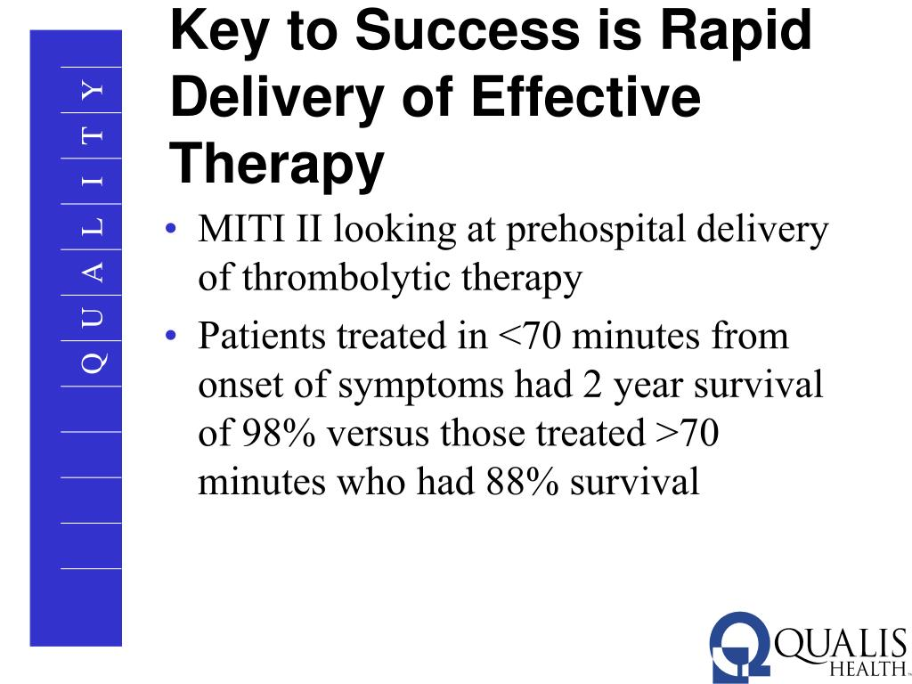 Key to Success is Rapid Delivery of Effective Therapy
