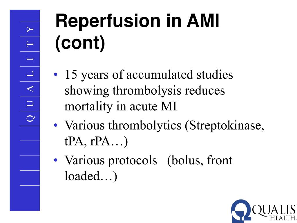Reperfusion in AMI (cont)